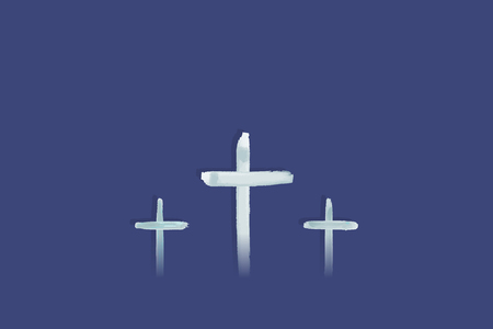 Christian worship and praise. Crosses in watercolor style. Illustration