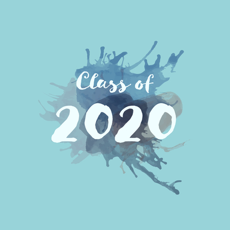 Congratulations Graduate Typography. Watercolor splashes with text : Class of 2020 Zdjęcie Seryjne - 124193015