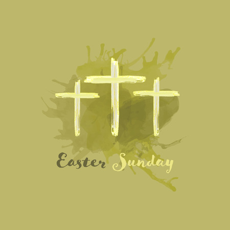 Christian worship and praise. Crosses in watercolor style. Text : Easter Sunday