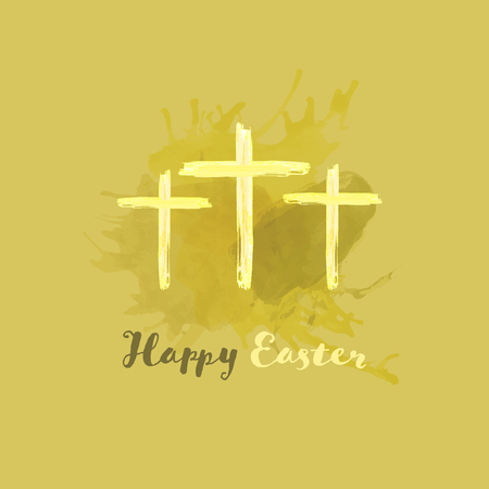 Christian worship and praise. Crosses in watercolor style. Text : Happy Easter Illustration