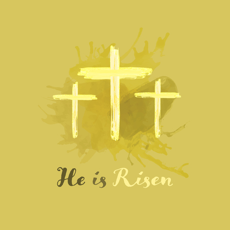 Christian worship and praise. Crosses in watercolor style. Text : He is Risen Illustration