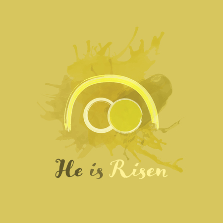 Christian worship and praise. Empty tomb in watercolor style. Text : He is Risen