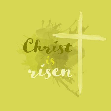 Christian worship and praise. Cross in watercolor style. Text : Christ is risen
