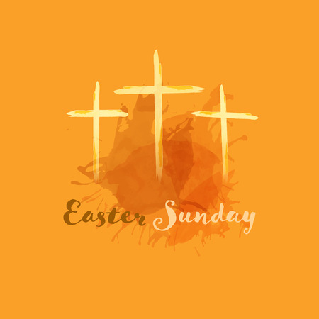 Christian worship and praise. Crosses in watercolor style. Text : Easter Sunday Illustration