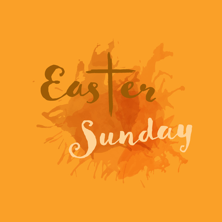 Christian worship and praise. Cross in watercolor style. Text : Easter Sunday Illustration