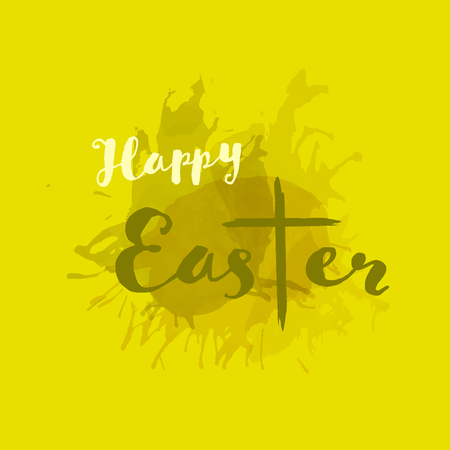 Christian worship and praise. Cross in watercolor style. Text : Happy Easter Illustration