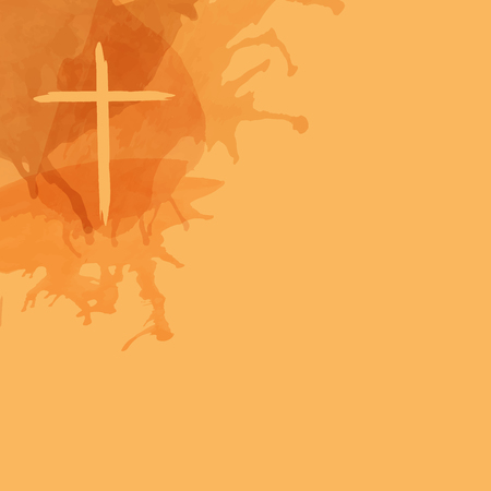 Christian worship and praise. Cross in watercolor style with empty space.