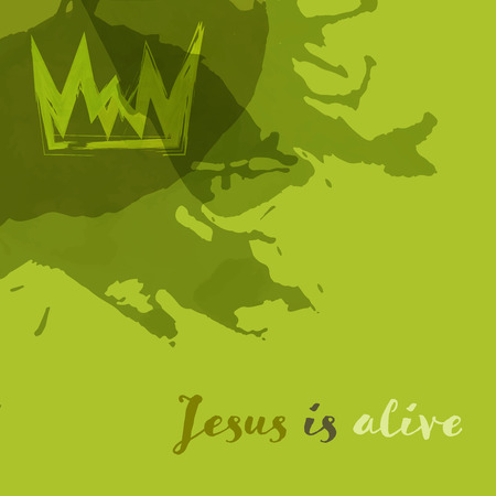 Christian worship and praise. Crown in watercolor style with empty space. Text : Jesus is alive