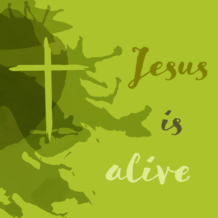 Christian worship and praise. Cross in watercolor style with empty space. Text : Jesus is alive Illustration