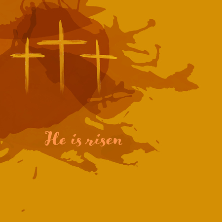 Christian worship and praise. Crosses in watercolor style with empty space. Text : He is risen