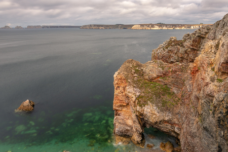French landscape - Bretagne. Rocky coast with high and wild cliffs (Peninsula of Crozon).
