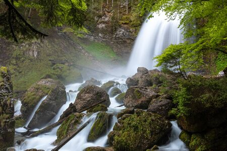 French landscape - Chartreuse. Wild river with waterfall in forest.