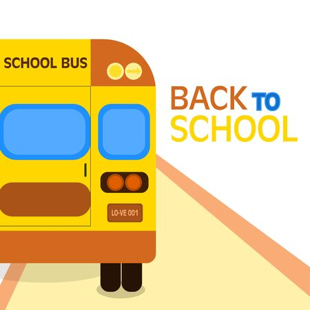 Back to school. School bus on street with text: Back to school. Colorful typographic design. Stock Illustratie