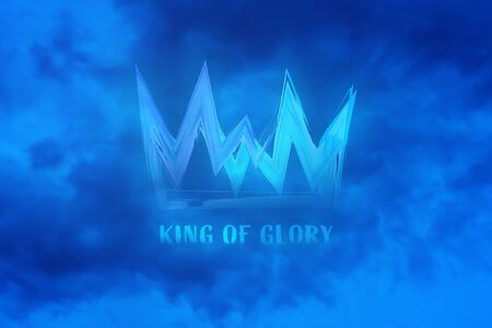 Christian worship and praise. Cloudy sky with crown and text: KING OF GLORY Фото со стока