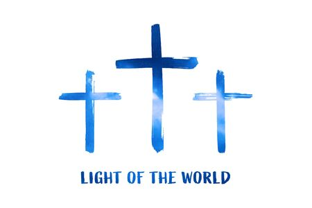 Christian worship and praise. Cloudy sky with three crosses and empty space. Text: Light of the world Imagens