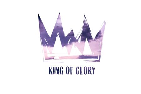 Christian worship and praise. Cloudy sky with crown and empty space. Text: KING OF GLORY Reklamní fotografie