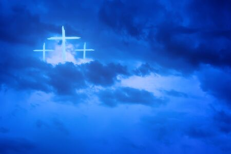 Christian worship and praise. Cloudy sky with cross and hearts.
