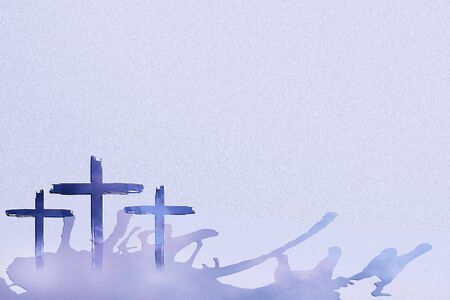 Christian worship and praise. Three crosses with cloudy sky background, water splashes and empty space.
