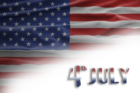 American National Holiday. Background with American flag and national colors. Text: 4th July