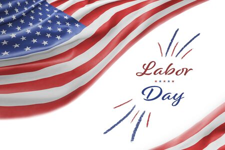 American National Holiday. Background with American flag and national colors. Text: Labor Day
