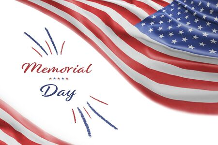 American National Holiday. Background with American flag and national colors. Text: Memorial Day