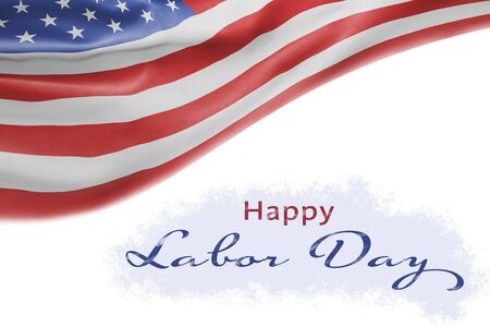 American National Holiday. Background with American flag and national colors. Text: Happy Labor Day 写真素材