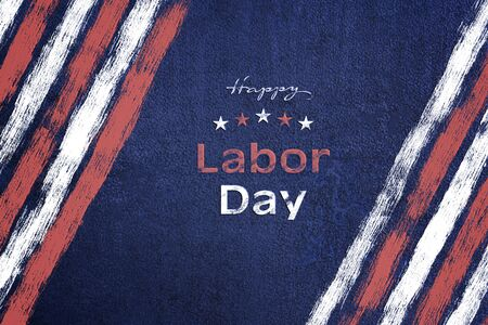 American National Holiday. Iron background with American stars, stripes and national colors. Text: Happy Labor Day