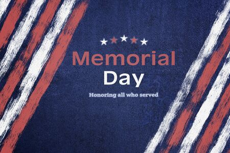 American National Holiday. Iron background with American stars, stripes and national colors. Text: Memorial Day