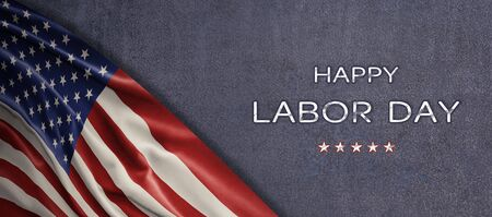 American National Holiday. US Flag background with American stars, stripes and national colors. Text: Happy Labor Day 写真素材