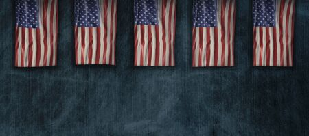 American National Holiday. US Flags background with American stars, stripes and national colors. Copy space.