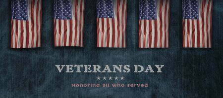 American National Holiday. US Flag background with American stars, stripes and national colors. Text: Veterans Day Stock fotó