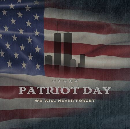 American National Holiday. US Flag background with American stars, stripes and national colors. Text: Patriot Day Stock fotó
