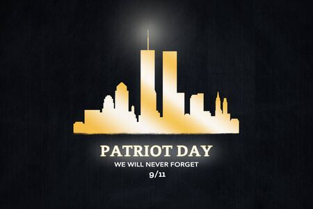 American National Holiday. Golden colored silhouette of New York City. Text: PATRIOT DAY - We will never Forget Stock fotó