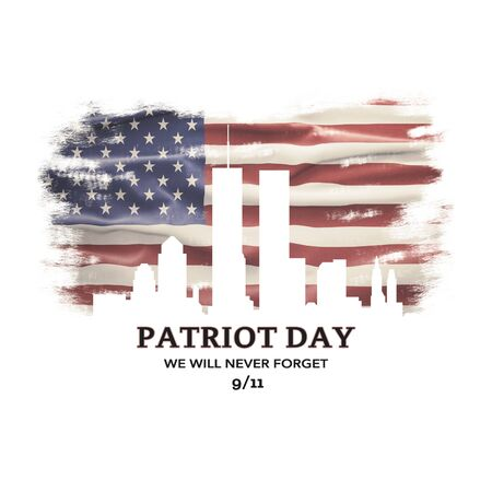 American National Holiday. US Flag background with American stars, stripes and national colors. New York. Text: PATRIOT DAY - We will never Forget