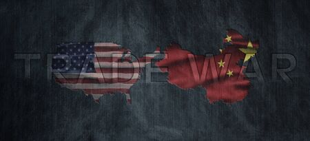 Political relationships. American and Chinese Flag divided diagonally. Partnership and conflicts. Trade war Stock Photo