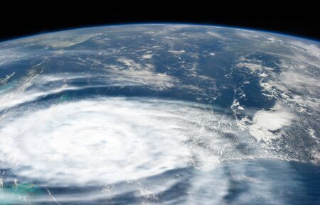 Weather illustration. Hurricane warning. Tropical storm. Some elements of this image furnished by NASA