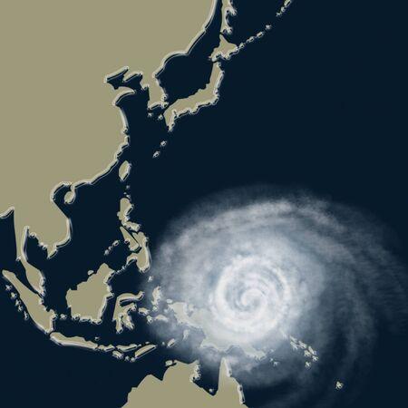Weather illustration. Typhoon warning. Tropical storm.