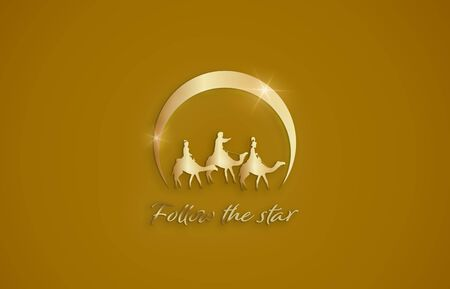 Christmas time. Nativity illustration of Three Kings and star of Bethlehem. Text : Follow the star. Stockfoto