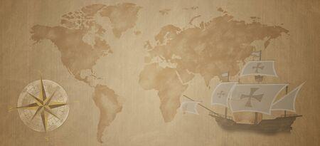 Pirate and nautical theme grunge background. Old sea compass, old Santa Maria ship and world map. Zdjęcie Seryjne