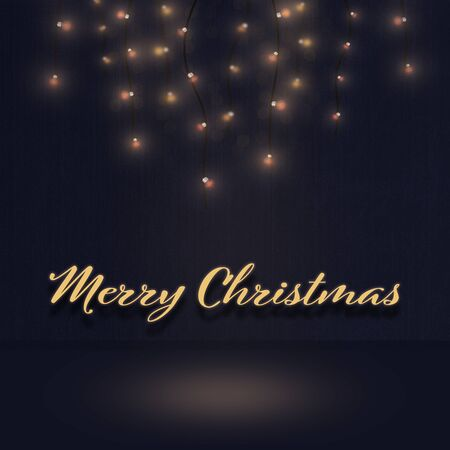 Christmas time. Light illustration. Background. Text: Merry Christmas.
