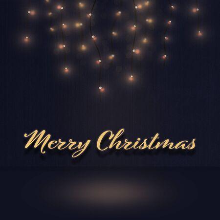 Tiempo de Navidad. Ilustración de luz. Fondo. Texto: Feliz Navidad.