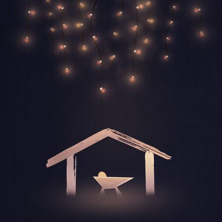 Christmas time. Nativity illustration of manger with baby Jesus. Light illustration.