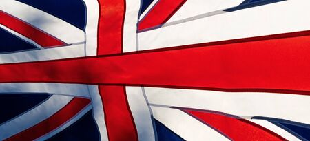 Great Britain National Day. National flag with sun in the background. Panorama.