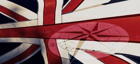 Political relationships. British Union Flag with compass.Background. Crisis concept.
