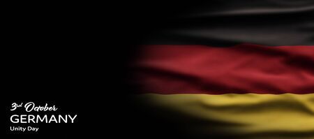 Germany National Holiday. German flag with dark background and national colors. Unification. Text: 3rd October. Germany. Unity Day