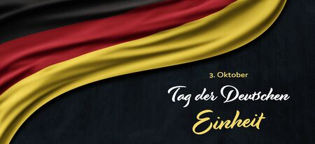 Germany National Holiday. German flag with dark background and national colors. Unification. Text: Unity Day Germany (in German).