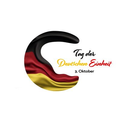 Germany National Holiday. German flag with white background and national colors. Unification. Text: Unity Day Germany (in German). Zdjęcie Seryjne