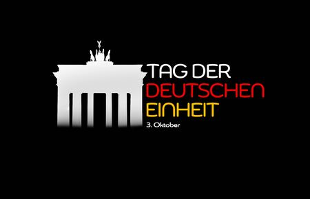 Germany National Holiday. German flag with white background, Brandenburger Gate and National colors. Unification. Text: Unity Day Germany (in German). Zdjęcie Seryjne