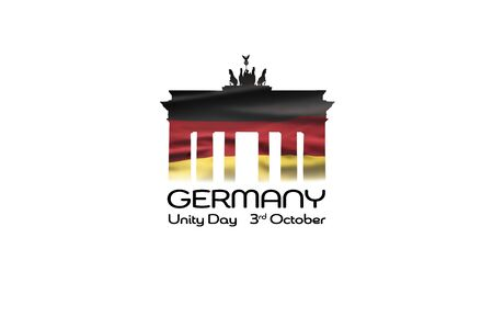 Germany National Holiday. German flag with white background, Brandenburger Gate and National colors. Unification. Text: Unity Day Germany. Zdjęcie Seryjne