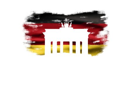 Germany National Holiday. German flag with white background, Brandenburger Gate and National colors. Unification.